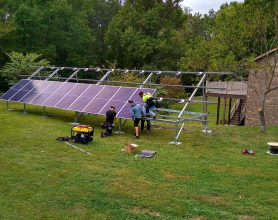 Solar Holler Panel Installation Crew Ground Mount in West Virginia